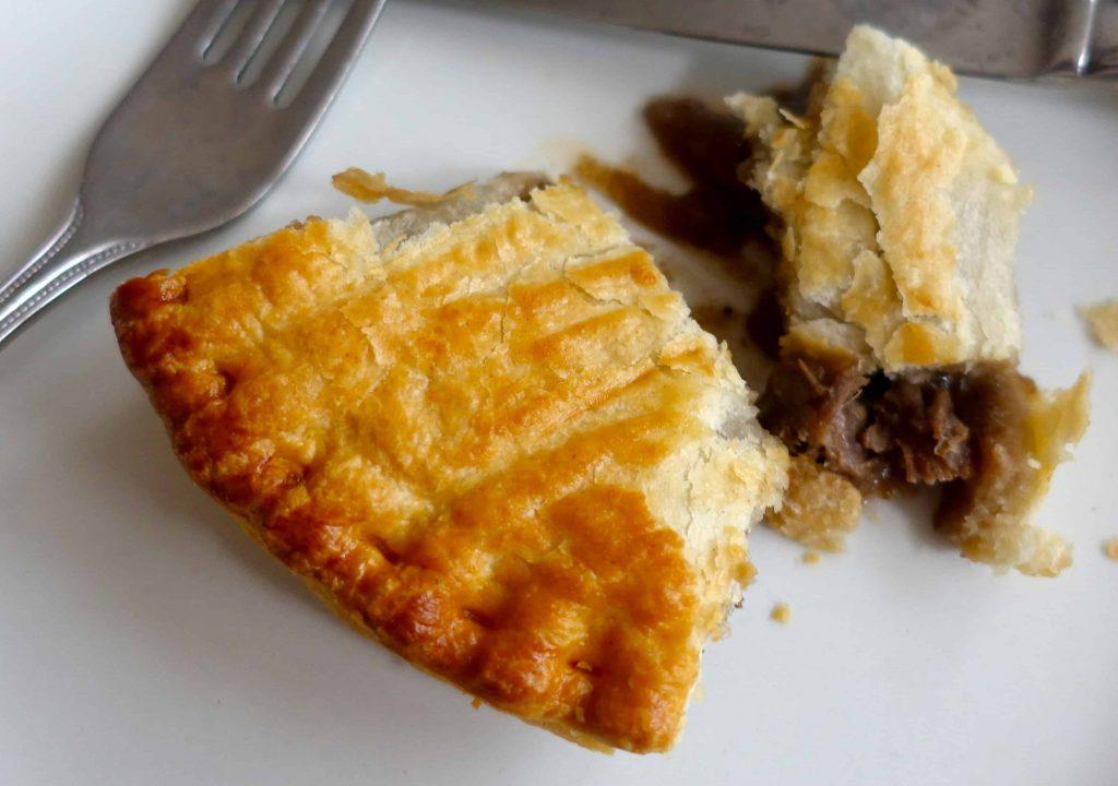 half eaten meat pies